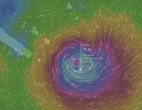 ULA passe  au sud de la Nouvelle-Calédonie (Windyty prévision 7h-lundi 11 janvier 2016)