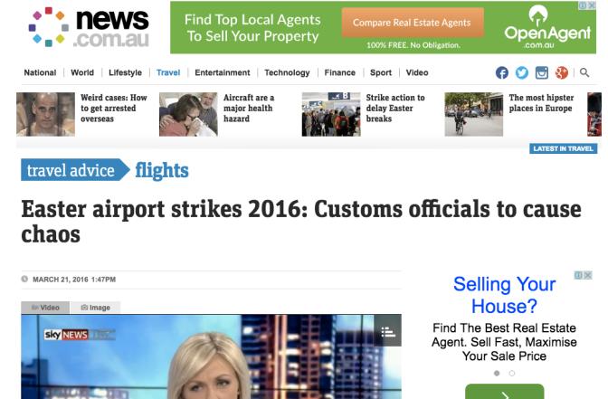 ATTENTION ! GREVES MONSTRES EN AUSTRALIE – LES AEROPORTS TOUCHES A PARTIR DE JEUDI