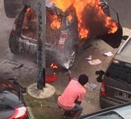 Un lycéen originaire de Lifou a tenté d'enrayer l'incendie des voitures au La Pérouse