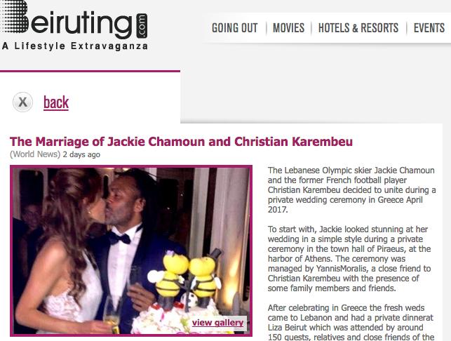 FOOT ET SKI : LE MARIAGE DE CHRISTIAN KAREMBEU AVEC LA BELLE JACKIE CHAMOUN