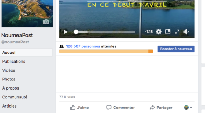 77 000 VUES D'UNE VIDEO SUR LA PAGE FACEBOOK DE NOUMEA POST !