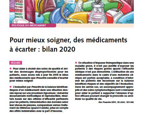 SELON LA REVUE «PRESCRIRE» LA LISTE 2020 DES MÉDICAMENTS «PLUS DANGEREUX QU'UTILES»